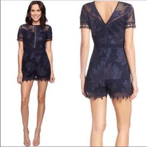 Adelyn Rae Navy Lace Romper